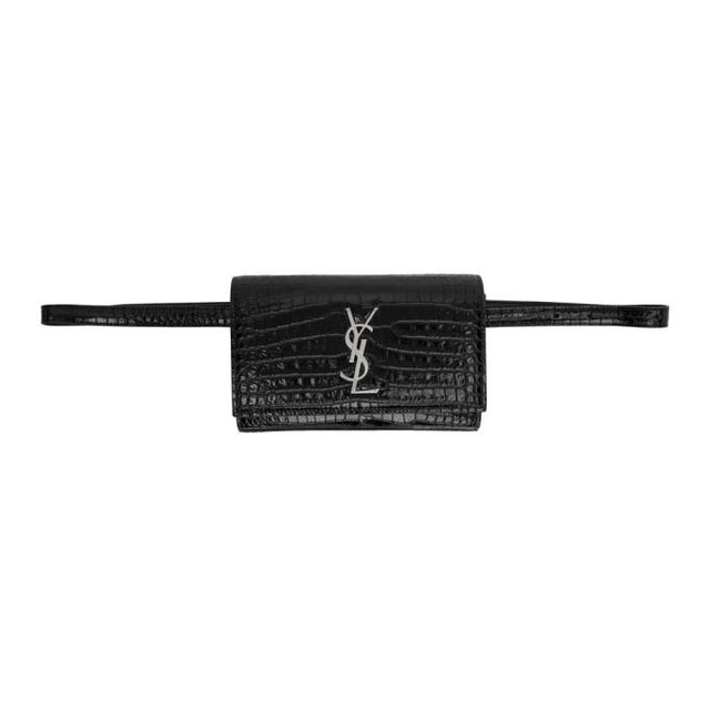 Saint Laurent Black Croc Kate Belt Bag
