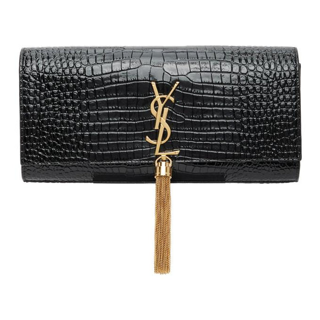 Saint Laurent Black Croc Kate Tassel Clutch