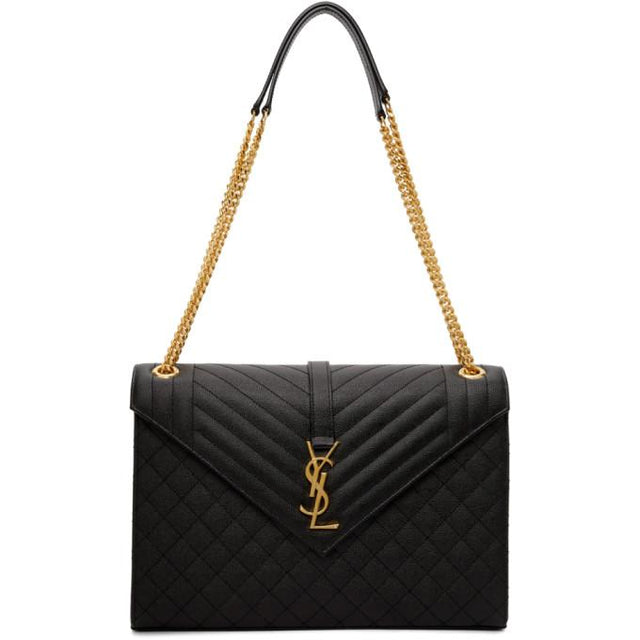 Saint Laurent Black Large Quilted Envelope Bag