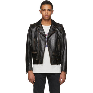 Saint Laurent Black Leather '1971' Jacket-BlackSkinny