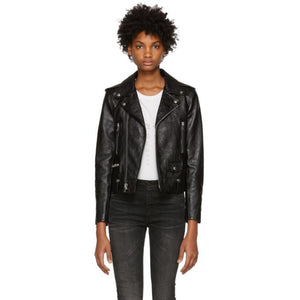 Saint Laurent Black Leather Classic Moto Jacket-BlackSkinny