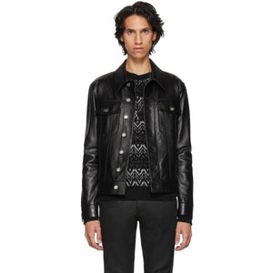 Saint Laurent Black Leather Trucker Jacket-BlackSkinny