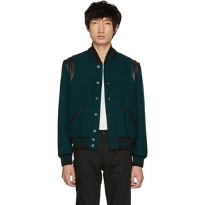 Saint Laurent Blue Canard Teddy Bomber Jacket-BlackSkinny