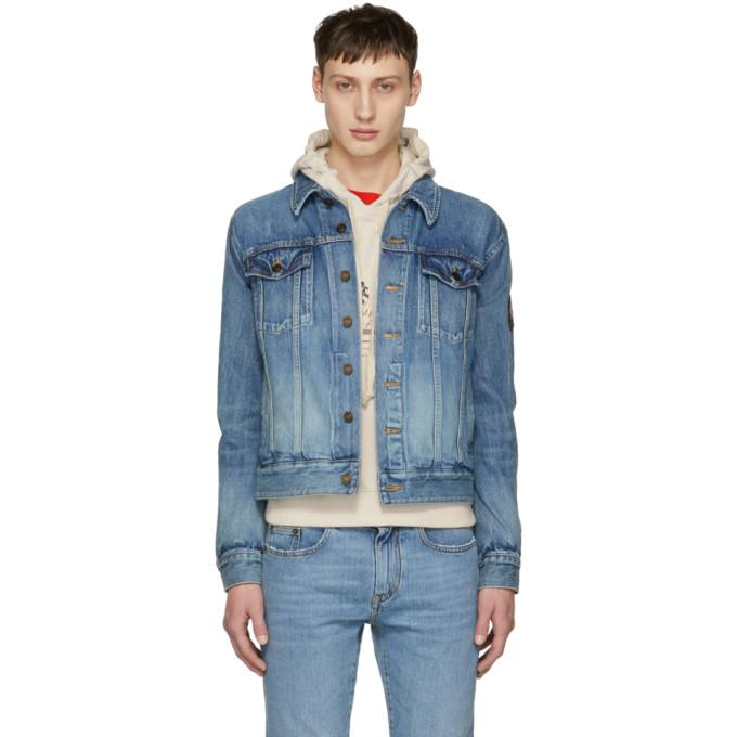 Saint Laurent Blue Denim Patch Slim Jacket-BlackSkinny