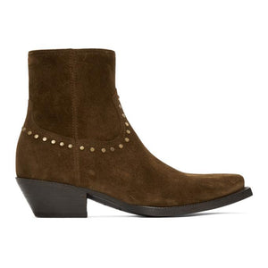 Saint Laurent Brown Suede Studded Lukas Boots