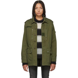 Saint Laurent Green Sequinned Patch Army Coat-BlackSkinny