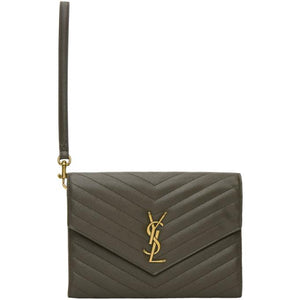 Saint Laurent Grey Monogramme Wristlet Envelop Clutch