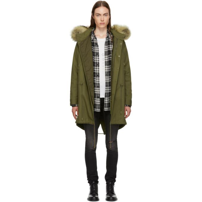 Saint Laurent Khaki Hooded Fur Parka-BlackSkinny
