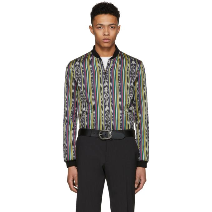 Saint Laurent Reversible Multicolor Ikat Varsity Jacket-BlackSkinny