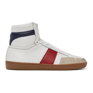 Saint Laurent White and Red Court Classic SL/10H Sneakers