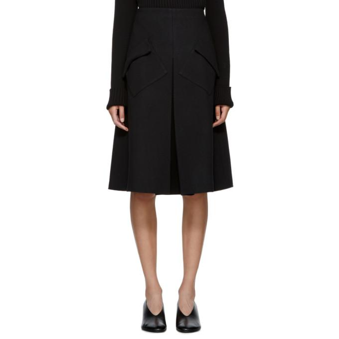 Sara Lanzi Black Wool Pleated Midi Skirt-BLACKSKINNY.COM