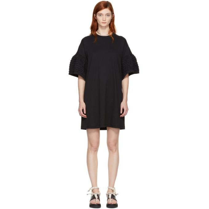See by Chloé Black Ruffle Sleeves T-Shirt Dress-BLACKSKINNY.COM