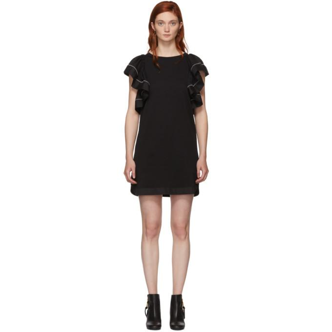 See by Chloé Black Ruffled Dress-BLACKSKINNY.COM
