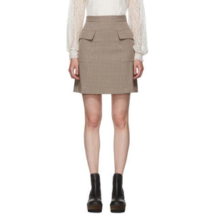 See by Chloé Multicolor Houndstooth Pocket A-Line Miniskirt-BLACKSKINNY.COM
