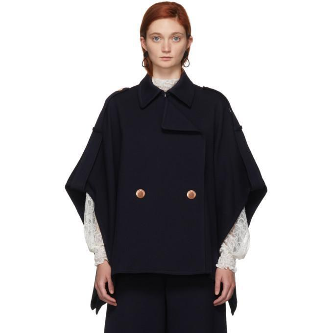 See by Chloé Navy Cape Coat-Jackets & Coats-BLACKSKINNY.COM