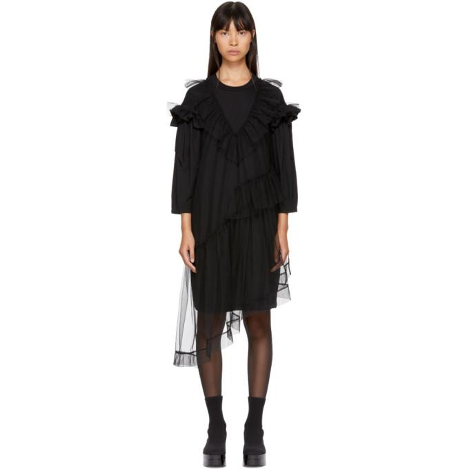 Simone Rocha Black Tulle T-Shirt Dress-BLACKSKINNY.COM