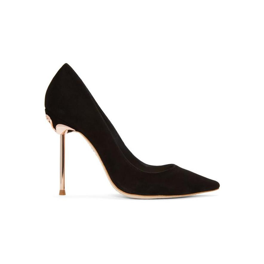 Sophia Webster Black Suede Coco Flamingo Heels-BLACKSKINNY.COM