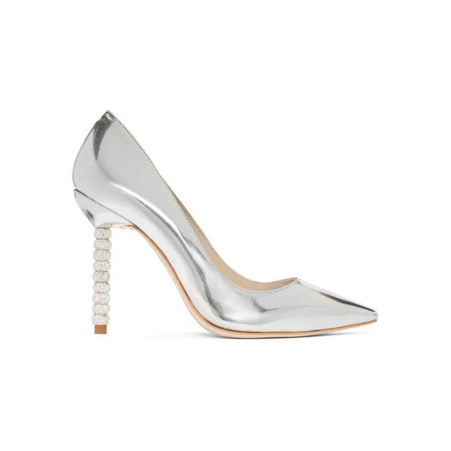 Sophia Webster Silver Metallic Coco Crystal Heels-BLACKSKINNY.COM
