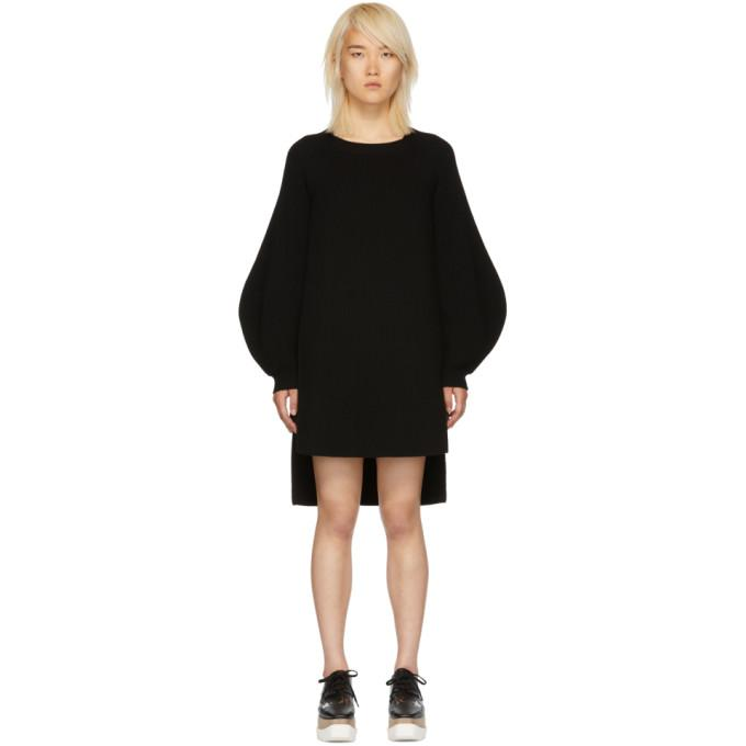 Stella McCartney Black Voluminous Sleeve Knit Dress-BLACKSKINNY.COM