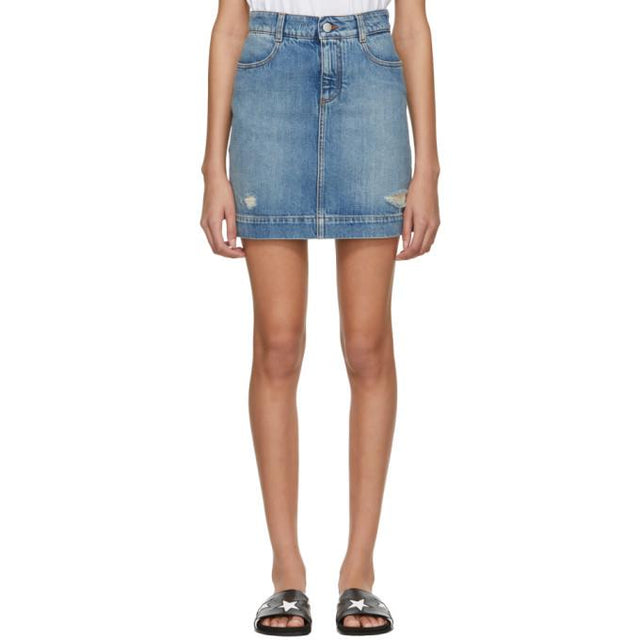 Stella McCartney Blue Denim Miniskirt-BLACKSKINNY.COM
