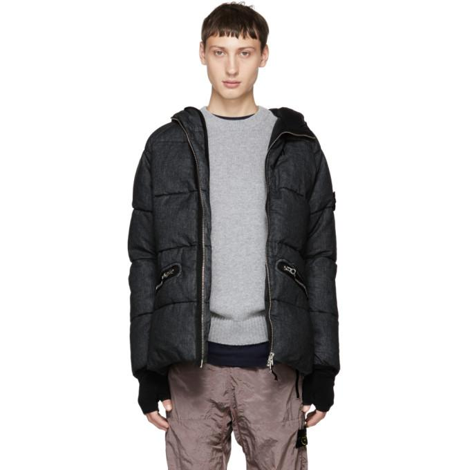 Stone Island Black Down Hooded Jacket-BlackSkinny