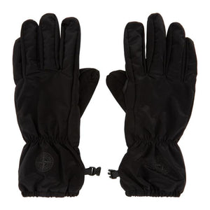 Stone Island Black Nylon Metal Gloves
