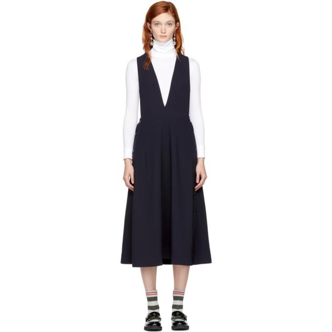 Studio Nicholson Navy Tardani Apron Dress-BLACKSKINNY.COM