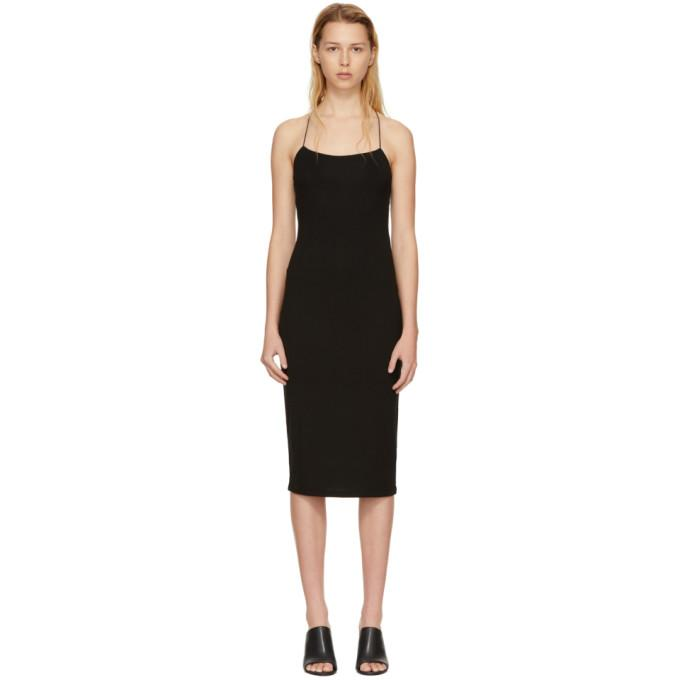T by Alexander Wang Black Fitted Back Slit Dress-BLACKSKINNY.COM