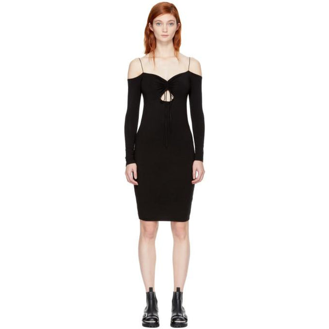 T by Alexander Wang Black Long Sleeve Cut-Out Off-the-Shoulder Dress-BLACKSKINNY.COM