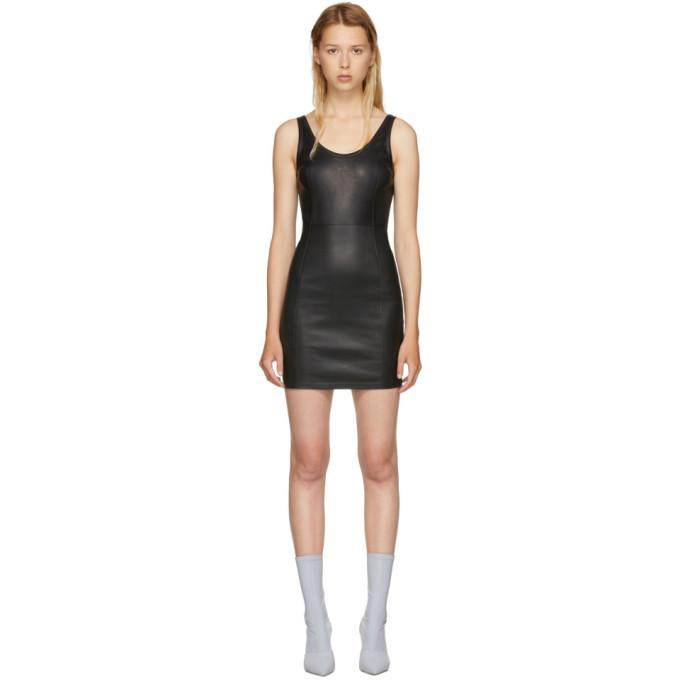 T by Alexander Wang Black Stretch Leather Mini Dress-BLACKSKINNY.COM