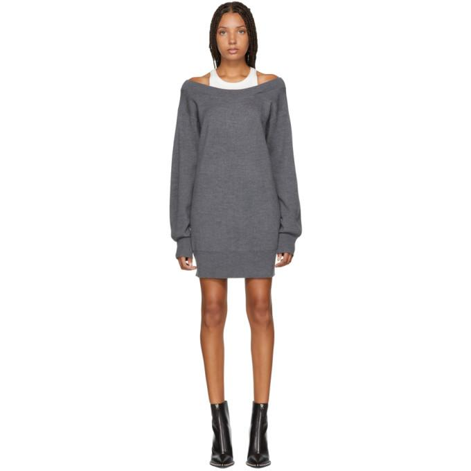 T by Alexander Wang Grey Inner Tank Knit Dress-BLACKSKINNY.COM