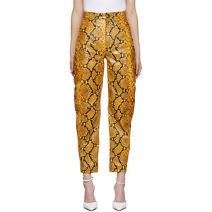 The Attico Yellow Leather Python Slouchy Pants