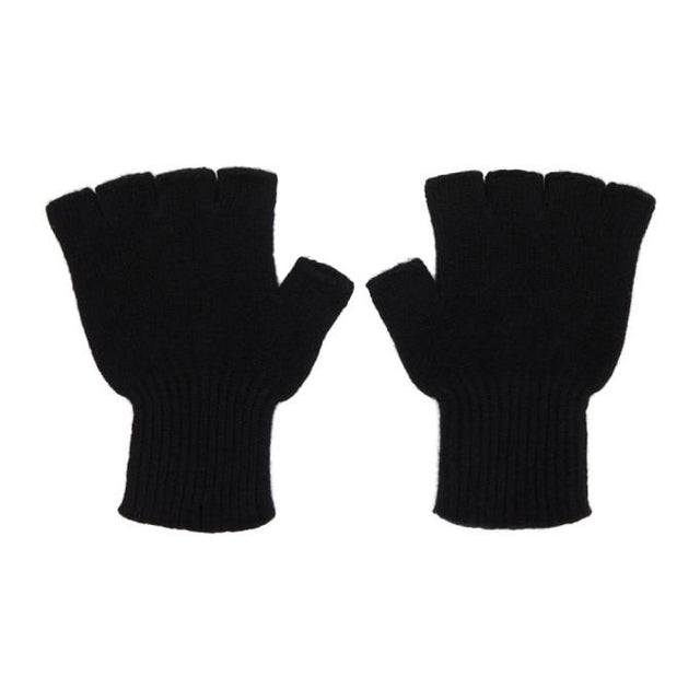 The Elder Statesman Black Cashmere Heavy Fingerless Gloves