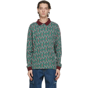 thisisneverthat Green and Burgundy Aztec Long Sleeve Polo