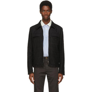Thom Browne Black Tennis Racket Guipure Lace Golf Jacket-BlackSkinny