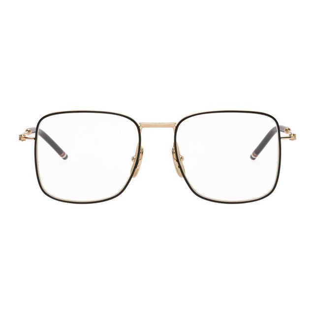 Thom Browne Gold and Black Square Glasses