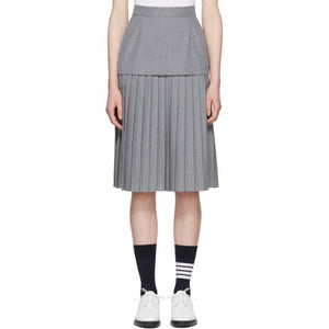 Thom Browne Grey Extended Lining Pleated Skirt-BLACKSKINNY.COM