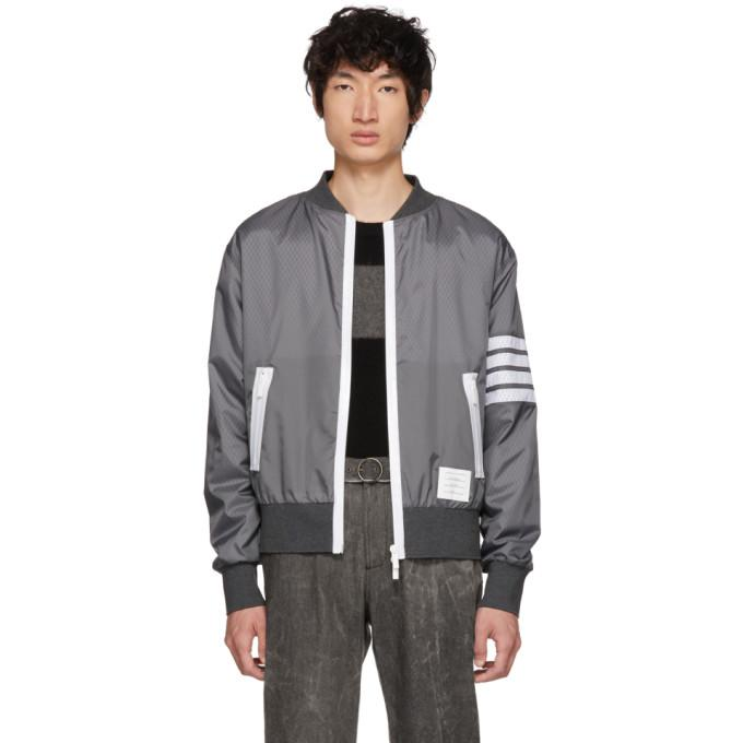 Thom Browne Grey Four Bar Light Weight Bomber Jacket-BlackSkinny