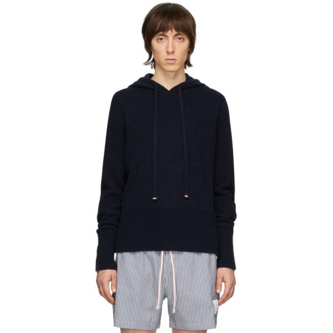 Thom Browne Navy Cashmere Over-Washed Hoodie