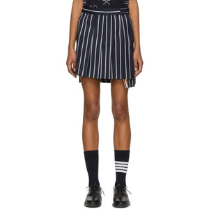 Thom Browne Navy Dropped Back Pleated Miniskirt-BLACKSKINNY.COM