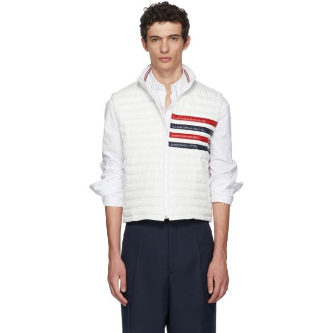 Thom Browne White Down Quilted Four Bar Vest-BlackSkinny