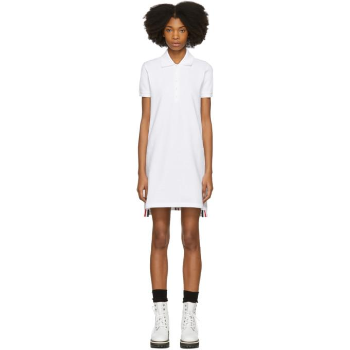 Thom Browne White Short Sleeve A-Line Polo Dress-BLACKSKINNY.COM