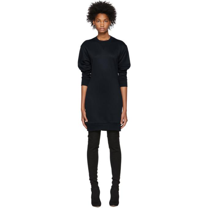 Tibi Navy Open Back Short Sweatshirt Dress-BLACKSKINNY.COM
