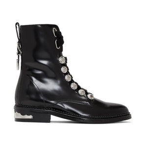 Toga Pulla Black Studded Lace-Up Boots-BLACKSKINNY.COM