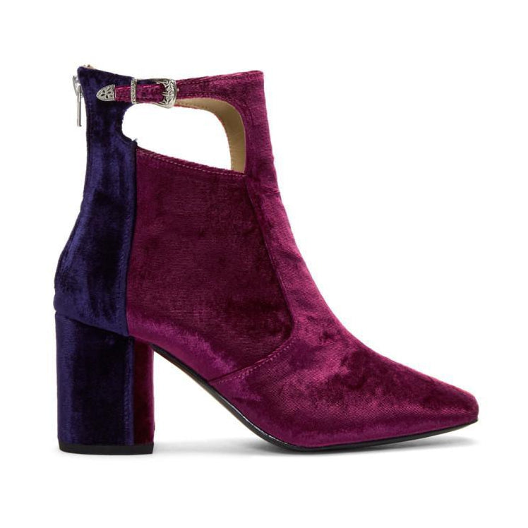 Toga Pulla Tricolor Heeled Velvet Cut-Out Boots-BLACKSKINNY.COM