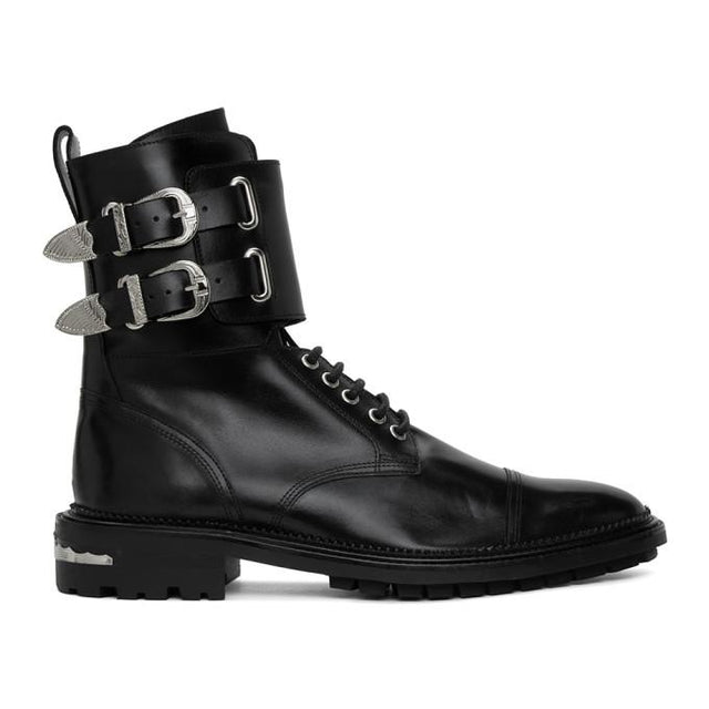 Toga Virilis Black Leather Buckle Boots