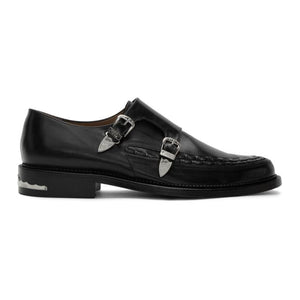 Toga Virilis Black Leather Buckle Monkstraps