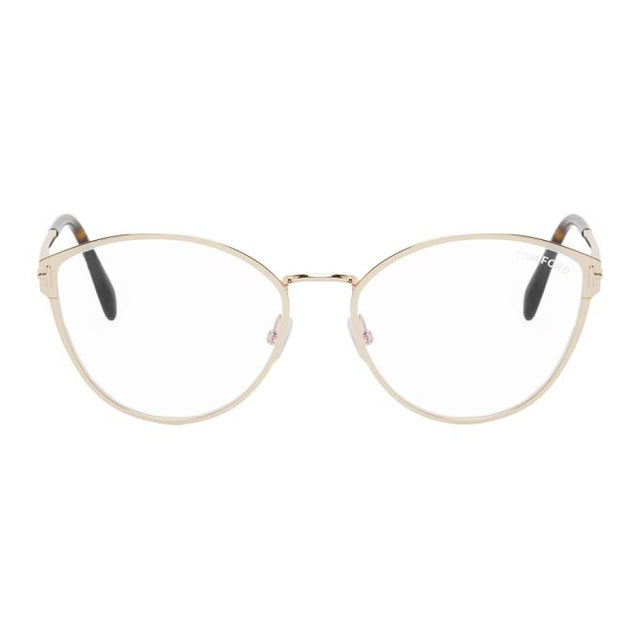 Tom Ford Gold Blue Block Soft Round Glasses