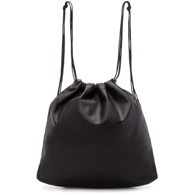 Tsatsas Black Leather Drawstring Xela Backpack-Bags-BLACKSKINNY.COM