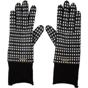 Undercover Black and White Sheepskin Printed Gloves